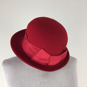 Red LiteFelt 100% Wool hat Marry Poppins Crushable